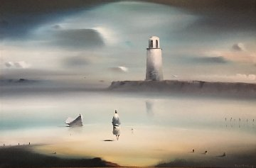Lighthouse 1974 33x43 (Early) Original Painting by Robert Watson