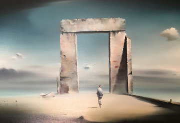 Monument 1977 31x43 Original Painting - Robert Watson