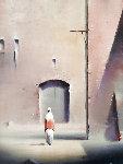Jerusalem Courtyard 1995 19x16 Original Painting - Robert Watson