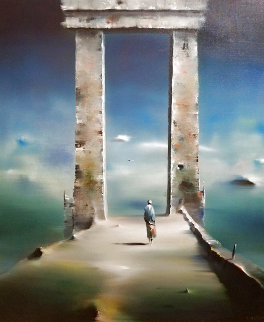 Ancient Arch 37x33 Original Painting - Robert Watson