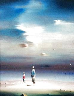 Two Figures on Beach 1977 16x12 Original Painting - Robert Watson