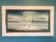 Lighthouse 1972 21x36 Original Painting by Robert Watson - 1