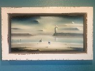 Lighthouse 1972 21x36 Original Painting by Robert Watson - 2