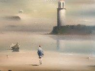 Lighthouse 1972 21x36 Original Painting by Robert Watson - 3
