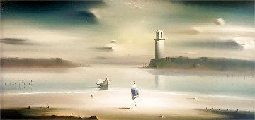 Lighthouse 1972 21x36 Original Painting - Robert Watson