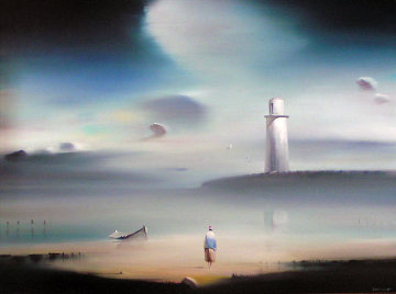 Lighthouse 1984 18x24 Original Painting - Robert Watson