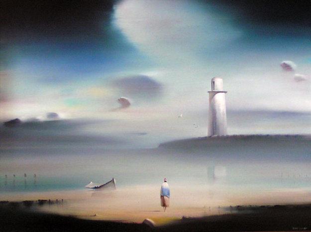 Lighthouse 1984 18x24 Original Painting by Robert Watson