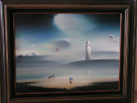 Lighthouse 1984 18x24 Original Painting by Robert Watson - 1
