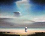 Untitled (II) Solitary Figure 11x13 Original Painting - Robert Watson