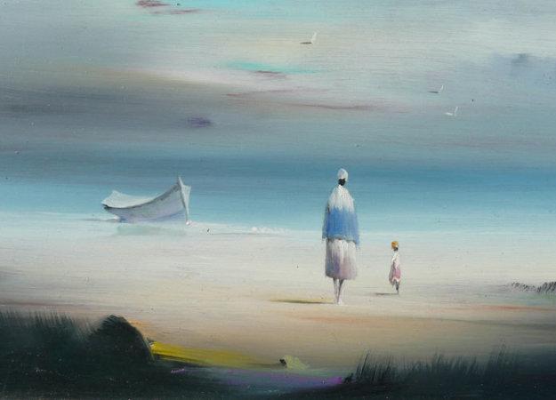 Untitled Beach Scene 14x16 Original Painting by Robert Watson