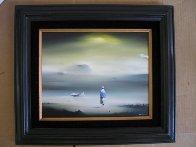 Yellow Sky 1977 12x14 Original Painting by Robert Watson - 1