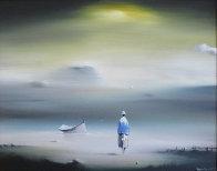 Yellow Sky 1977 12x14 Original Painting by Robert Watson - 0