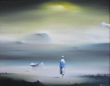 Yellow Sky 1977 12x14 Original Painting by Robert Watson