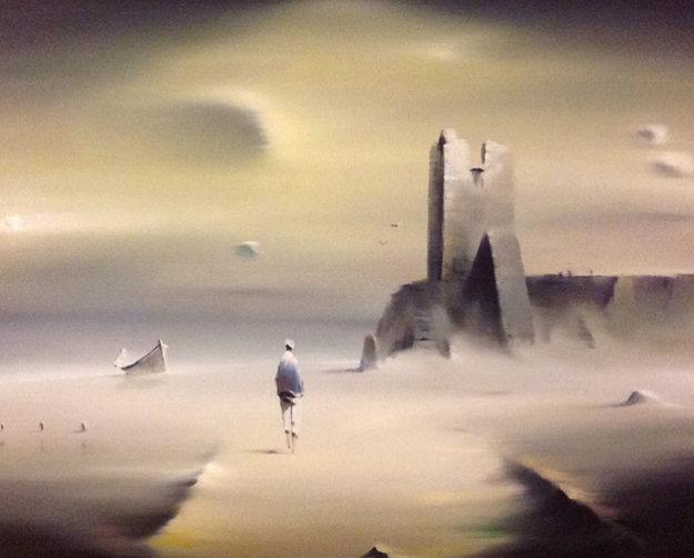 Walking Man 1975 24x28 Original Painting by Robert Watson