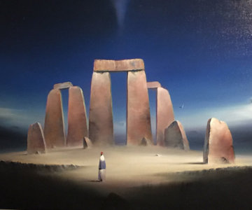 Stonehenge II 1999 30x41 Super Huge Original Painting - Robert Watson