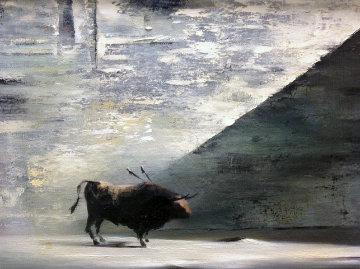 Bull 1954 24x20 Original Painting - Robert Watson