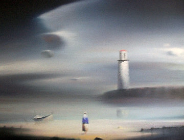 Lighthouse 1987 18x24 Original Painting - Robert Watson