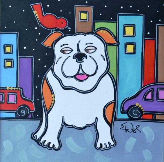 Red Bird Bulldog 2009 23x23 Original Painting by Eric Waugh