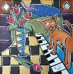 In Tunes Tulips 2009 31x31 Original Painting - Eric Waugh
