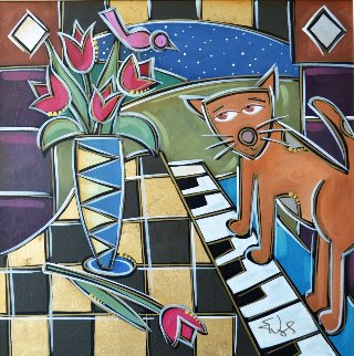 In Tunes Tulips 2009 31x31 Original Painting - Eric Waugh