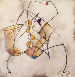 Untitled (Saxophonist) From the Musicians Series  2003 26x26 Original Painting - Eric Waugh