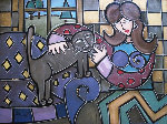Cat on a Purple Couch 2012 24x30 Original Painting - Eric Waugh