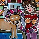 City Kitty Cuddle II 2009 22x22 Original Painting - Eric Waugh