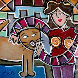 City Kitty Cuddle II 2009 22x22 Original Painting by Eric Waugh - 0