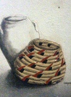 Untitled Early Basket Painting 17x13 Original Painting - Wayne Cooper