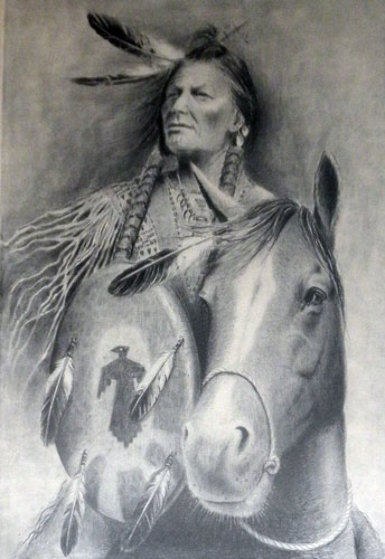 Indian Chief on Horse Limited Edition Print by Wayne Cooper