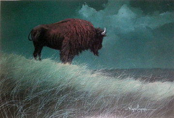 Buffalo on Hill Limited Edition Print by Wayne Cooper