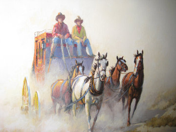 Untitled (Stage Coach)  1986 20x24 Original Painting by Wayne Cooper