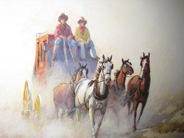 Untitled (Stage Coach)  1986 20x24 Original Painting - Wayne Cooper
