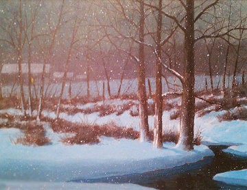 Midnight Snow 1984 27x33 Original Painting - Wayne Cooper