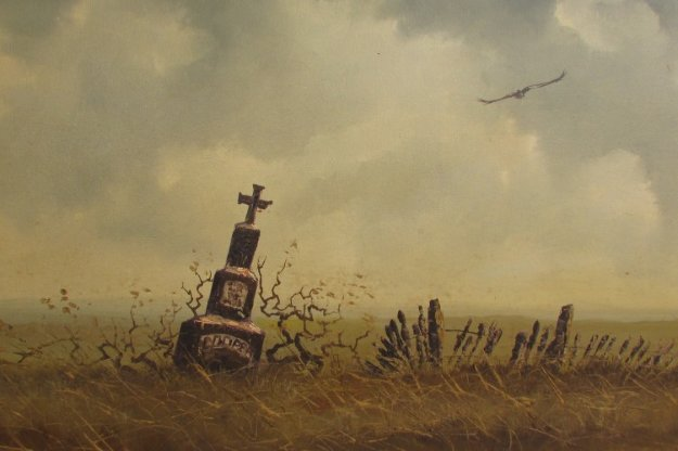 Untitled    Cooper Tomb Stone 33x44 Original Painting by Wayne Cooper
