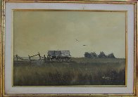 Untitled (Wagon With Fence) 1960 32x44 Super Huge Original Painting by Wayne Cooper - 1