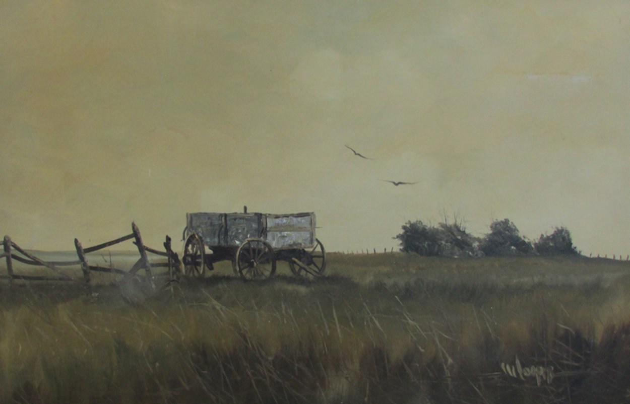 Untitled (Wagon With Fence) 1960 32x44 Super Huge Original Painting by Wayne Cooper