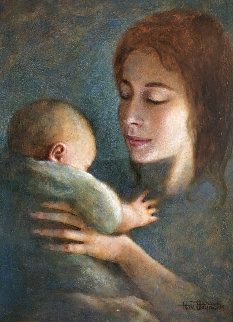 Mother And Child 1963  22x18 Original Painting - Wade Reynolds