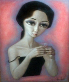 Untitled (Portrait of a Woman) 36x28 Original Painting - Wade Reynolds
