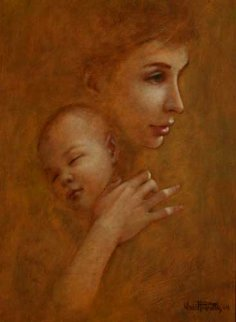Madonna with Child 1964 19x15 Original Painting - Wade Reynolds