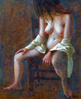 Seated Nude 1965 40x32 Original Painting - Wade Reynolds