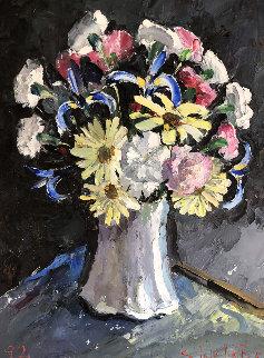 Flowers on Vase 1992 22x28 Original Painting - Stokely Webster