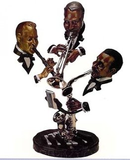 Sunday Morning Jazz Bronze Sculpture 29x23x25 Sculpture - Paul Wegner