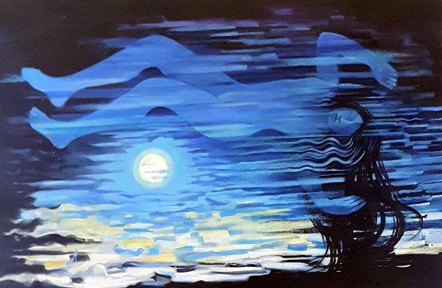 Moonrise 2019 49x73 Original Painting by Roberta Weir