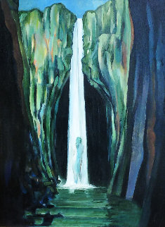 Woman in a Waterfall 2002 24x30 Original Painting by Roberta Weir
