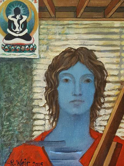 Mirror 2015 13x16 Original Painting by Roberta Weir