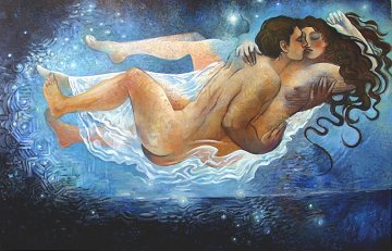 Dreamers 1995 48x72 Super Huge Original Painting - Roberta Weir