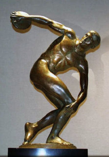 Discus Thrower Bronze Sculpture 1995 30 in Sculpture by Felix de Weldon