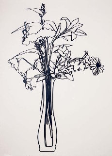 Wildflower Bouquet Lasercut Enamel and Steel Sculpture 1987 38x25 Sculpture - Tom Wesselmann