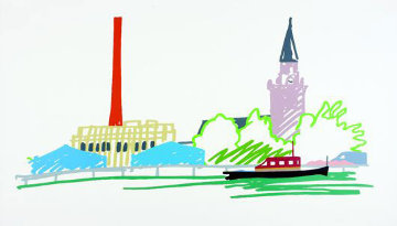 Thames Scene With Power Station  1990 Limited Edition Print - Tom Wesselmann